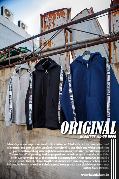 outer1104. original neoprene zip-up hood [3color]